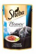 Паучи Sheba Pleasure с тунцом и лососем, 24x85г
