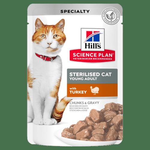 Паучи Hill's Science Plan для стерилизованных кошек от 6 месяцев до 6 лет, с индейкой, 85г