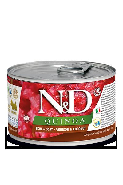 Консервы Farmina N&D Quinoa Skin&Coat Venison для взрослых собак, кожа и шерсть, с олениной