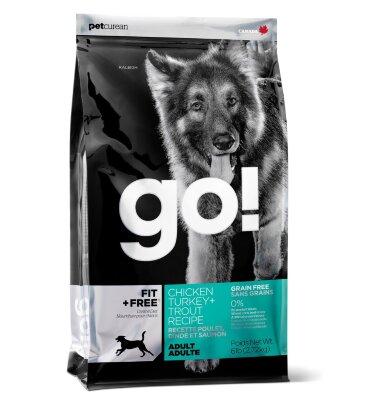 Сухой корм Go! Fit+Free для взрослых собак всех пород беззерновой с 4 видами мяса: индейкой, курицей, лососем, уткой