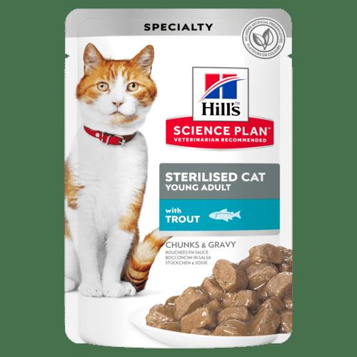 Паучи Hill's Science Plan для стерилизованных кошек от 6 месяцев до 6 лет, с форелью, 85г