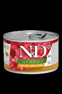 Консервы Farmina N&D Quinoa Skin&Coat Quail для взрослых собак, кожа и шерсть, с перепелом