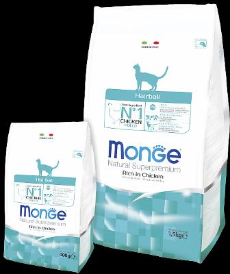 Сухой корм Monge Cat Hairball для выведения шерсти для кошек
