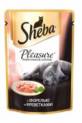 Паучи Sheba Pleasure с форелью и креветками, 24x85г