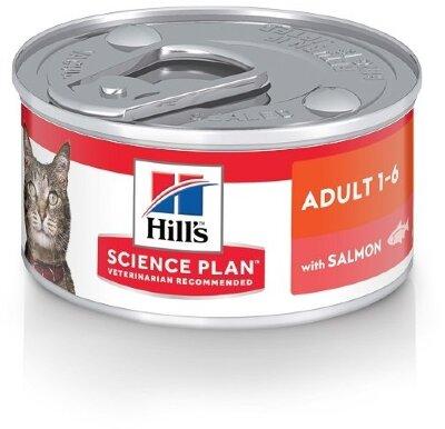 Консервы Hill's Science Plan для взрослых кошек, паштет с лососем, 82г