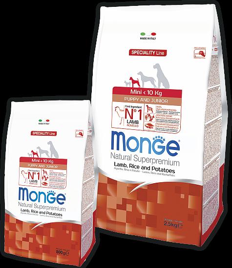 Сухой корм Monge Dog Speciality Mini для щенков мелких пород Ягненок с рисом и картофелем
