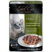 Паучи Edel Cat нежные кусочки в соусе для кошек (индейка и утка), 20шт x 100г