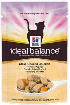 Паучи Hill's Ideal Balance для взрослых кошек, курица, 85г