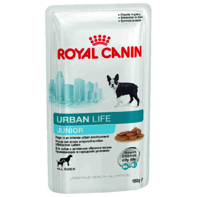 Паучи Royal Canin Urban Life Junior для щенков, живущих в городских условиях, в соусе 150 г