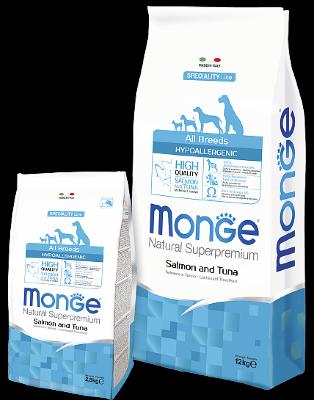 Сухой корм Monge Dog Speciality Hypoallergenic для взрослых собак гипоаллергенный Лосось с тунцом