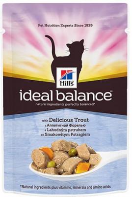 Паучи Hill's Ideal Balance для взрослых кошек, с форелью, 85г