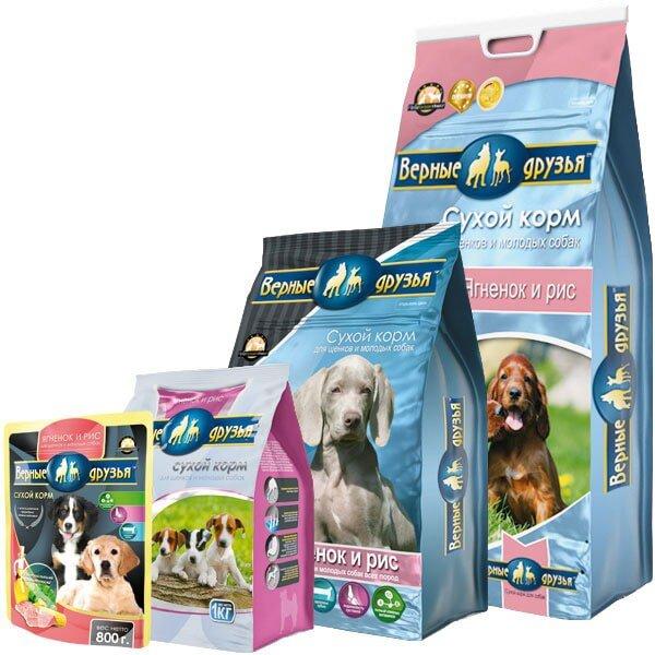 Сухой корм Верные друзья для щенков и молодых собак с ягненком и рисом