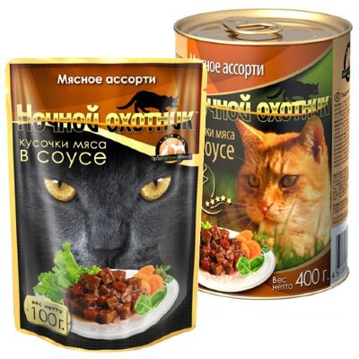 Консервированный корм для кошек Ночной охотник мясные кусочки в соусе - Мясное ассорти