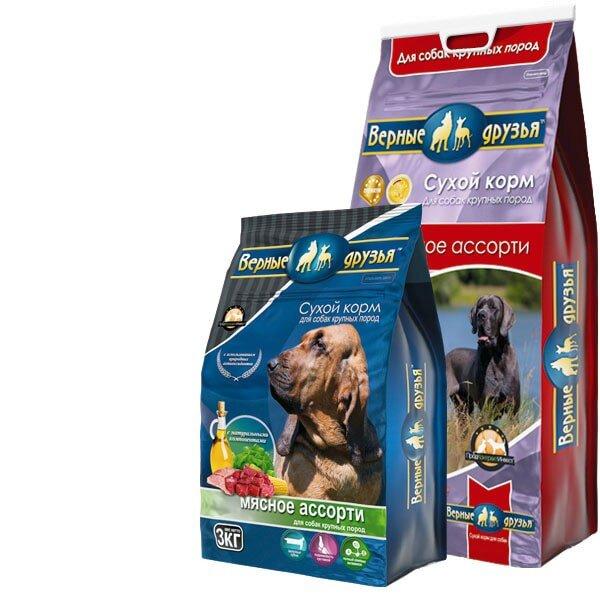 Сухой корм Верные друзья для взрослых собак крупных пород Мясное ассорти, 15кг