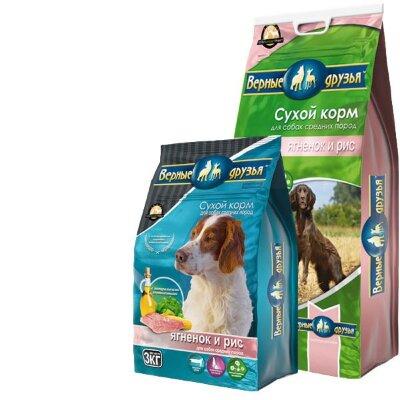 Сухой корм Верные друзья для взрослых собак средних пород с ягненком и рисом, 15кг