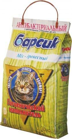Наполнитель для кошачьего туалета Барсик впитывающий Mix - древесный, 4,54 л