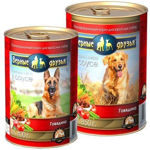 Консервированный корм для взрослых собак всех пород Верные друзья с говядиной