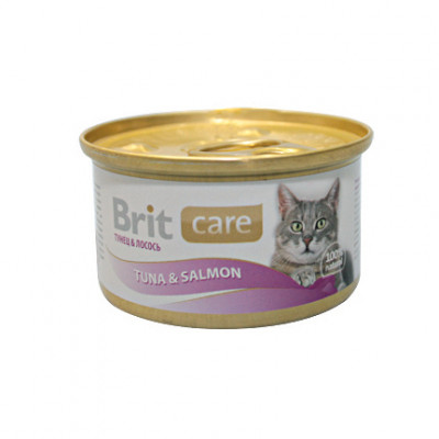 Консервы суперпремиум класса для кошек BRIT Care Тунец и лосось, 80г