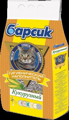 Наполнитель для кошачьего туалета Барсик Кукурузный, 4,54 л