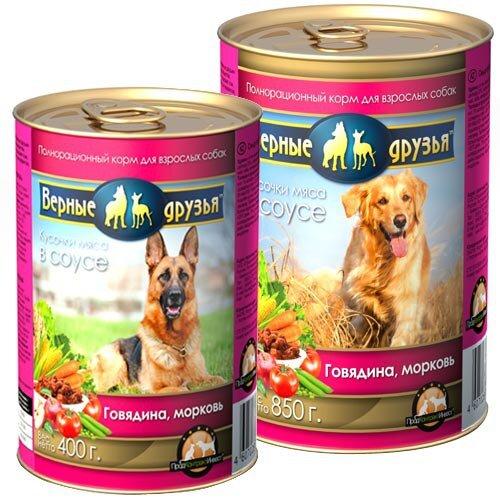 Консервированный корм для взрослых собак всех пород Верные друзья с говядиной и морковью