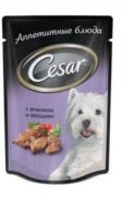 Паучи Cesar для собак Ягненок с овощами, 24x100 г