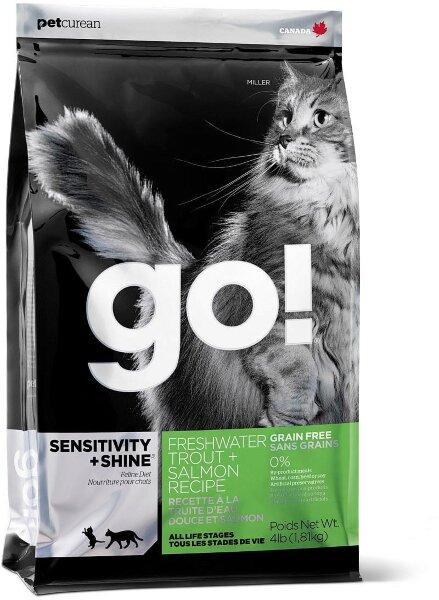 Сухой корм GO! Sensitivity+Shine Freshwater Trout, Salmon Recipe для котят и кошек с чувствительным пищеварением, беззерновой