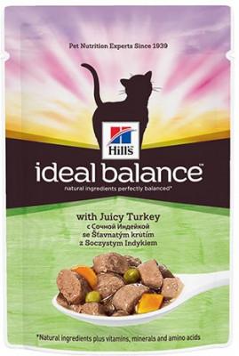 Паучи Hill's Ideal Balance для взрослых кошек, с индейкой, 85г