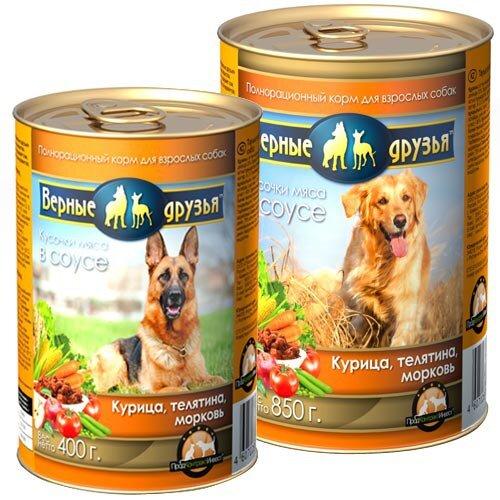 Консервированный корм для взрослых собак всех пород Верные друзья с курицей, телятиной и морковью