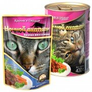 Консервированный корм для кошек Ночной охотник Мясные кусочки в желе - Кролик и сердце