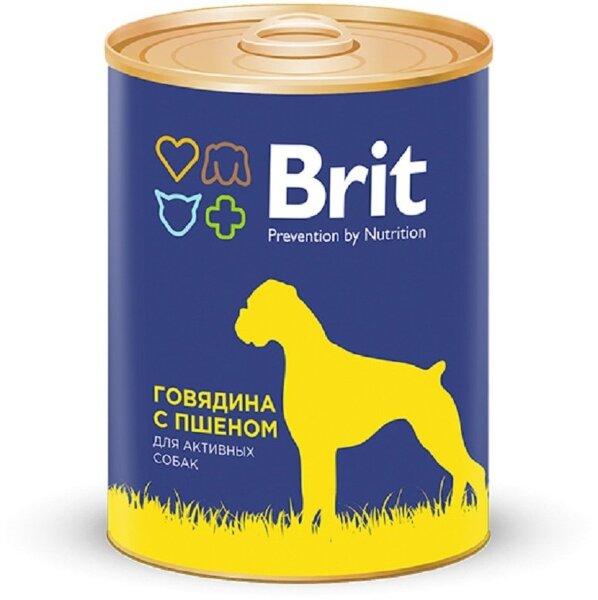 Консервы Brit Premium для собак всех пород, говядина и пшено, 850г
