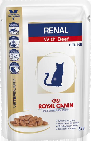 Паучи Royal Canin Renal для кошек c хронической почечной недостаточностью (с говядиной), 85 г