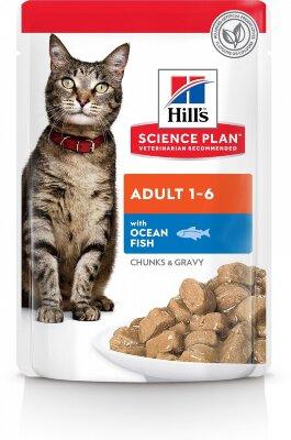 Паучи Hill's Science Plan для взрослых кошек, с океанической рыбой, 85г