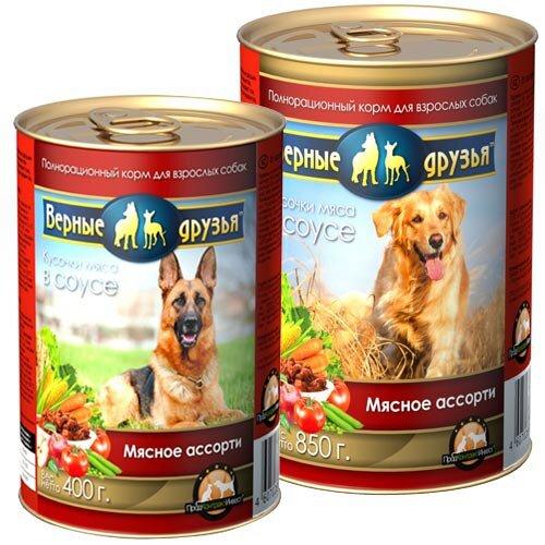 Консервированный корм для взрослых собак всех пород Верные друзья Мясное ассорти