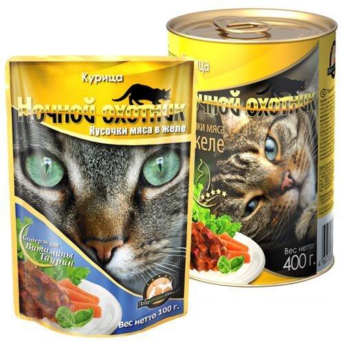 Консервированный корм для кошек Ночной охотник Мясные кусочки в желе - Курица
