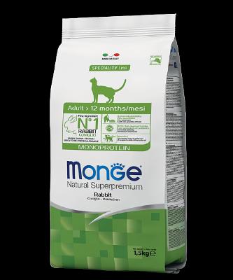 Сухой монопротеиновый корм Monge Cat Rabbit для взрослых кошек с кроликом