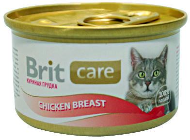 Консервы суперпремиум класса для кошек BRIT Care Куриная грудка, 80г