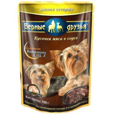 Консервированный корм для взрослых собак малых пород Верные друзья Мясное ассорти, 100г