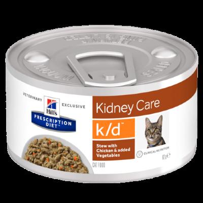 Консервы для кошек Hill's Prescription Diet k/d Рагу с курицей и овощами, при заболеваниях почек, 24шт x 82г