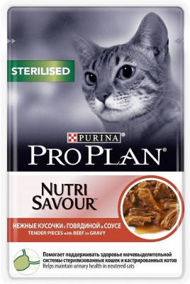 Паучи Pro Plan Nutrisavour Sterilised для стерилизованных кошек в соусе Говядина, 24шт x 85г