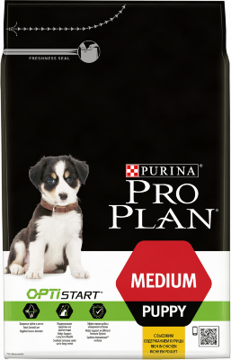 Сухой корм Pro Plan Medium Puppy для щенков средних пород с курицей и рисом