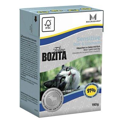 Консервы Bozita Sensitive Diet & Stomach для кошек с чувствительным пищеварением кусочки с мясом Лося в желе, 190г