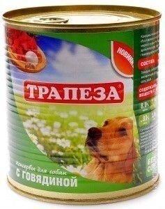 Консервы Трапеза с Говядиной для взрослых собак 750 г