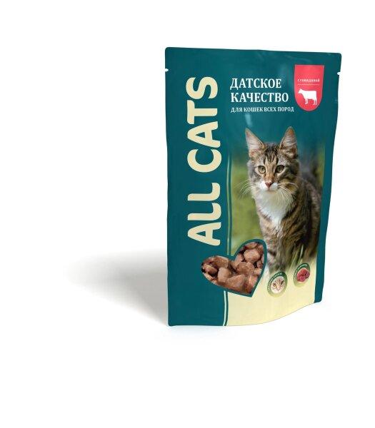 Консервированный корм для кошек ALL CATS с говядиной, 85г
