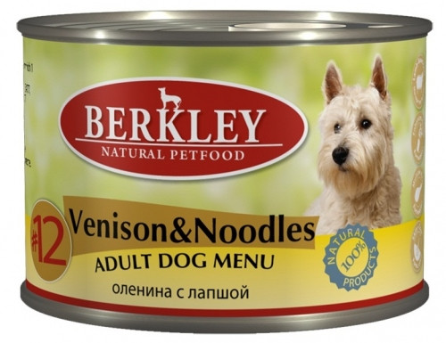 Консервы для собак Berkley №12 оленина с лапшой, 200г
