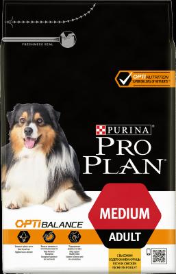 Сухой корм Pro Plan Medium Adult для взрослых собак средних пород с курицей и рисом
