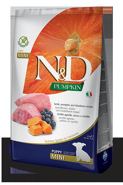 Сухой корм Farmina N&D Pumpkin Lamb&Blueberry Puppy Mini беззерновой для щенков мелких пород с ягненком, тыквой и черникой