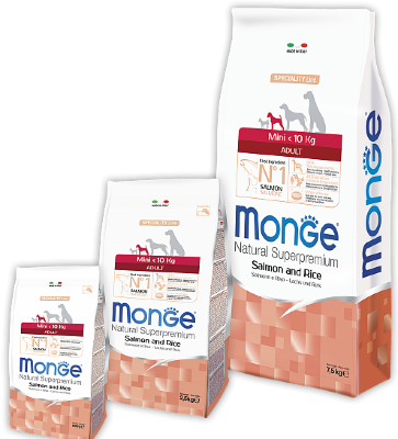 Сухой корм Monge Dog Speciality Mini корм взрослых собак мелких пород Лосось с рисом