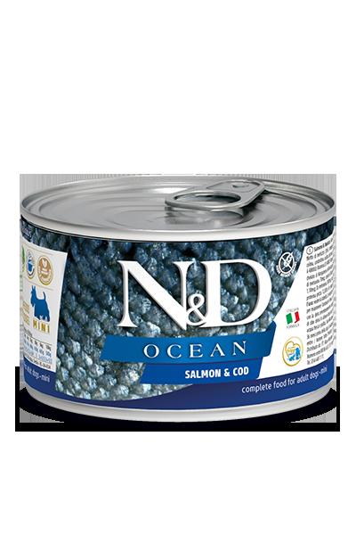 Консервы Farmina N&D Ocean Salmon & Cod Adult для взрослых собак, лосось и треска
