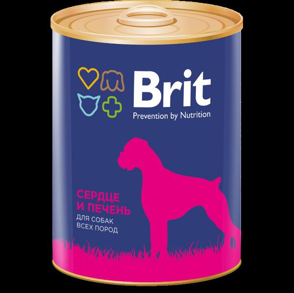 Консервы Brit Premium для собак всех пород, сердце и печень, 850г