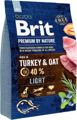 Сухой корм Brit by Nature Premium Light для собак всех пород, склонных к полноте
